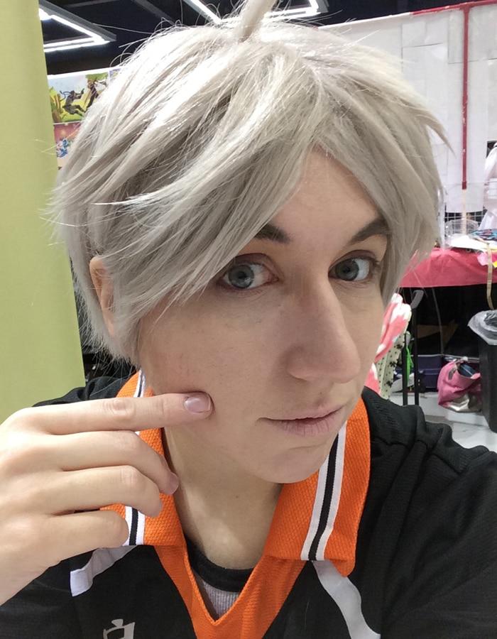 Biamoxer Haikyuu!! Volleyball Koushi Sugawara Cosplay Wigs Short Beige Gray Heat Resistant Cosplay Costume Wig