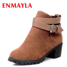 ENMAYER Flock Spring/Autumn short cylinder boots with high heels shoes Martin for women big size  ankle