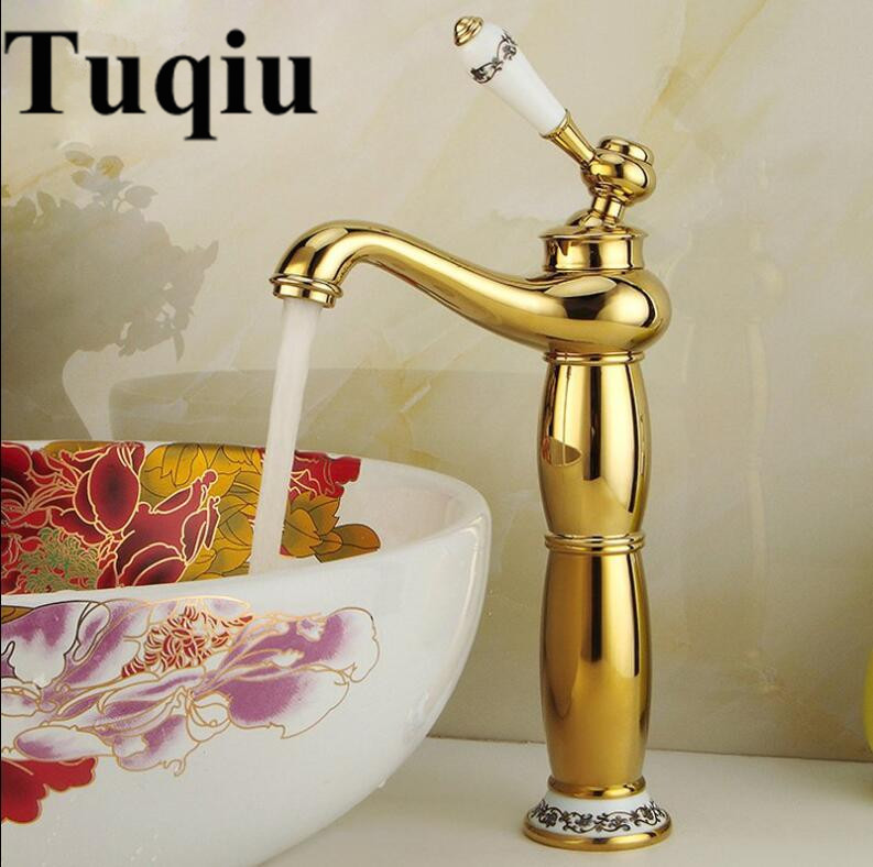 Basin Faucet Gold Brass Bathroom Sink Faucet with Ceramic Handle Hole Deck Vintage Wash Faucet Hot Cold Mixer Tap Crane free shipping toilet tap bathroom faucet gold plated ceramic handle basin tap sink faucet brass tap with hot