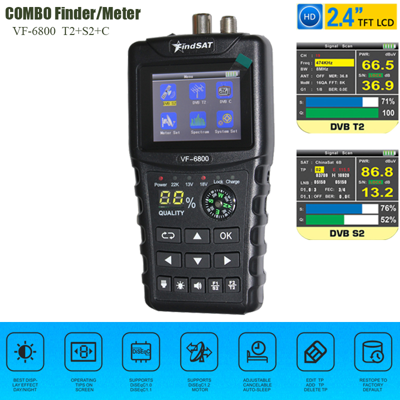 VF-6800 Satellite Finder Meter Support DVB-T2/DVB S2/DVB C Combo Sat Finder Meter For Satellite TV Receiver dvb t2 Tuner