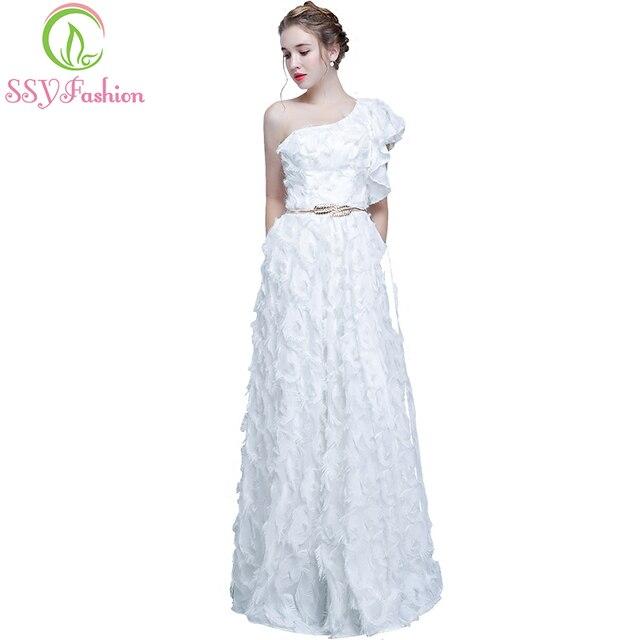 SSYFashion New The Banquet Prom Dress Elegant One Shoulder White ...