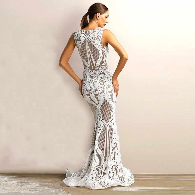 86303e399a Joyfunear V-neck Sexy Summer Autumn Women Dress Elegant Vestidos Mujer 2019  White Sequin Party Maxi Dress Bodycon Long Dresses