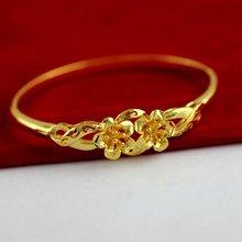 2 золотой цветок Дизайн Браслет Сплошной желтое золото Заполненный