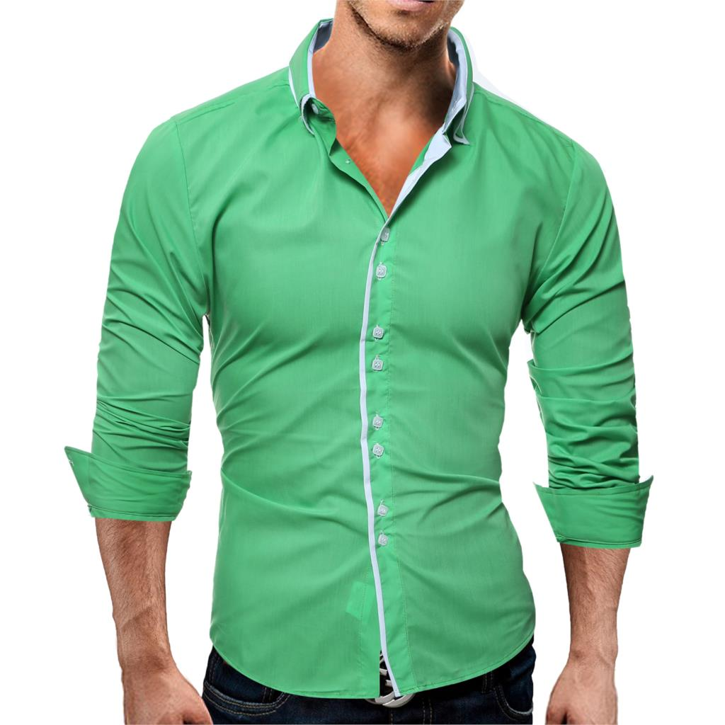 Brand 17 Fashion Male Shirt Long-Sleeves Tops Casual Solid Multi-Button Mens Dress Shirts Slim Men Shirt 3XL ASDF 6