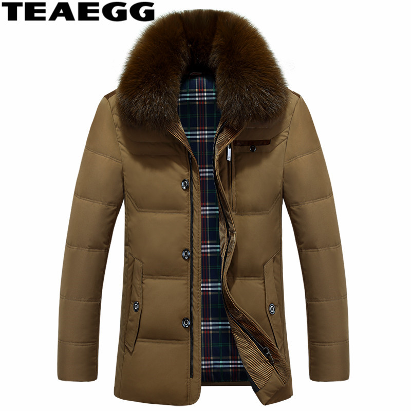 TEAEGG Plus Size Winter Man Down Jacket Parka Homme Detachable Faux Fox Fur Collar White Down Duck Jacket Men's Clothing AL370