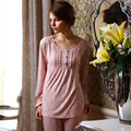 Entrega gratuita Twinset 100% algodão 2016 pijamas de verão mulheres pijama Pijamas das mulheres Define marca sleepwear pijama Casuais para as mulheres