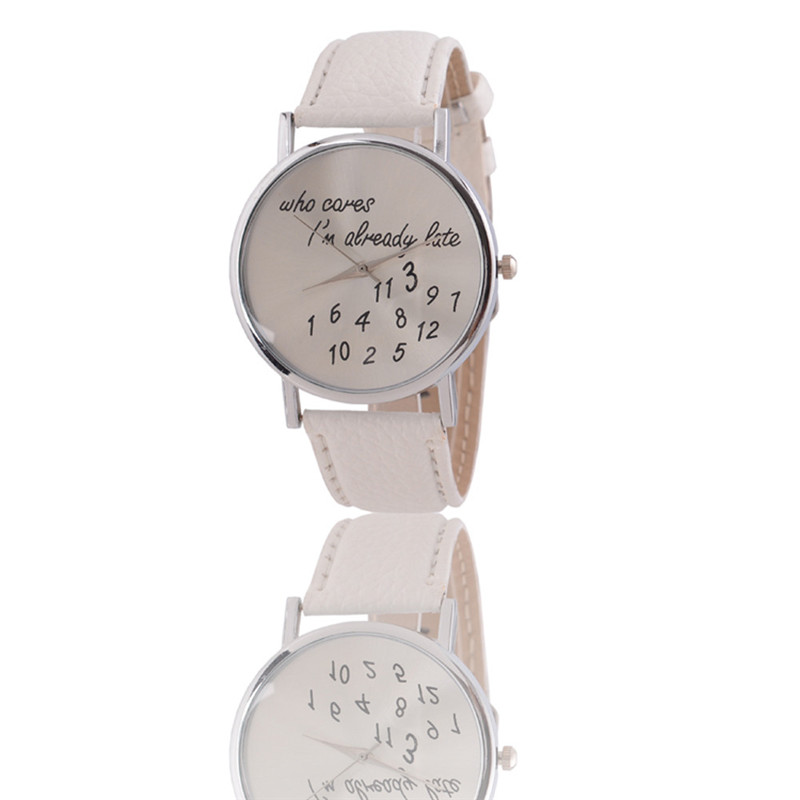 Who Cares I m Already Late Pattern Leather Men Women Watches Fresh New Style Woman