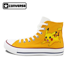 Pokemon Go Pikachu Custom Design Hand Painted Shoes Boys Girls Converse All Star Men Women Yellow