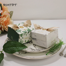 RMTPT 50Pcs/lot Marble style gift box Square flower boxBaby Shower Birthday wedding Party Candy Box bags wrapping supplies