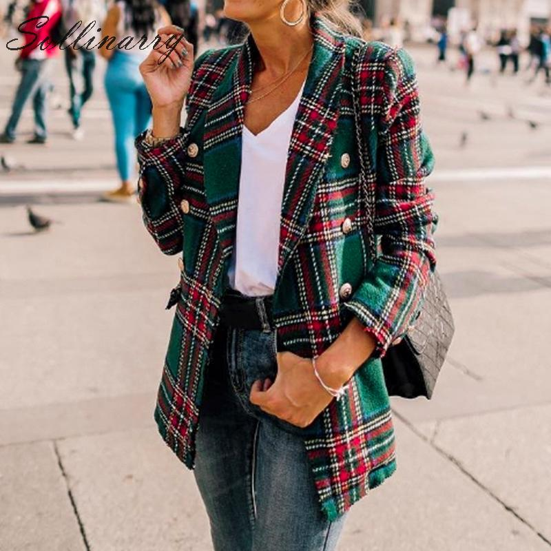 Sollinarry Coat Female Jacket Women Autumn Blazer Long-Sleeves Streetwear Plaid Chic