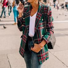 Sollinarry Classic Plaid Chic Autumn Blazer Jacket  Women St