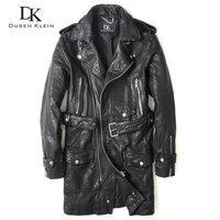 2016 New Long leather jacket male nature Vegetable tanned goatskin autumn coats Black 61U7165