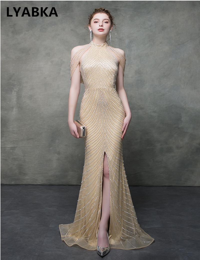 Sparkly Sequined Side Slit Prom Dress 2019 Open Back Summer Dress Champagne Gold Mermaid Prom Dresses