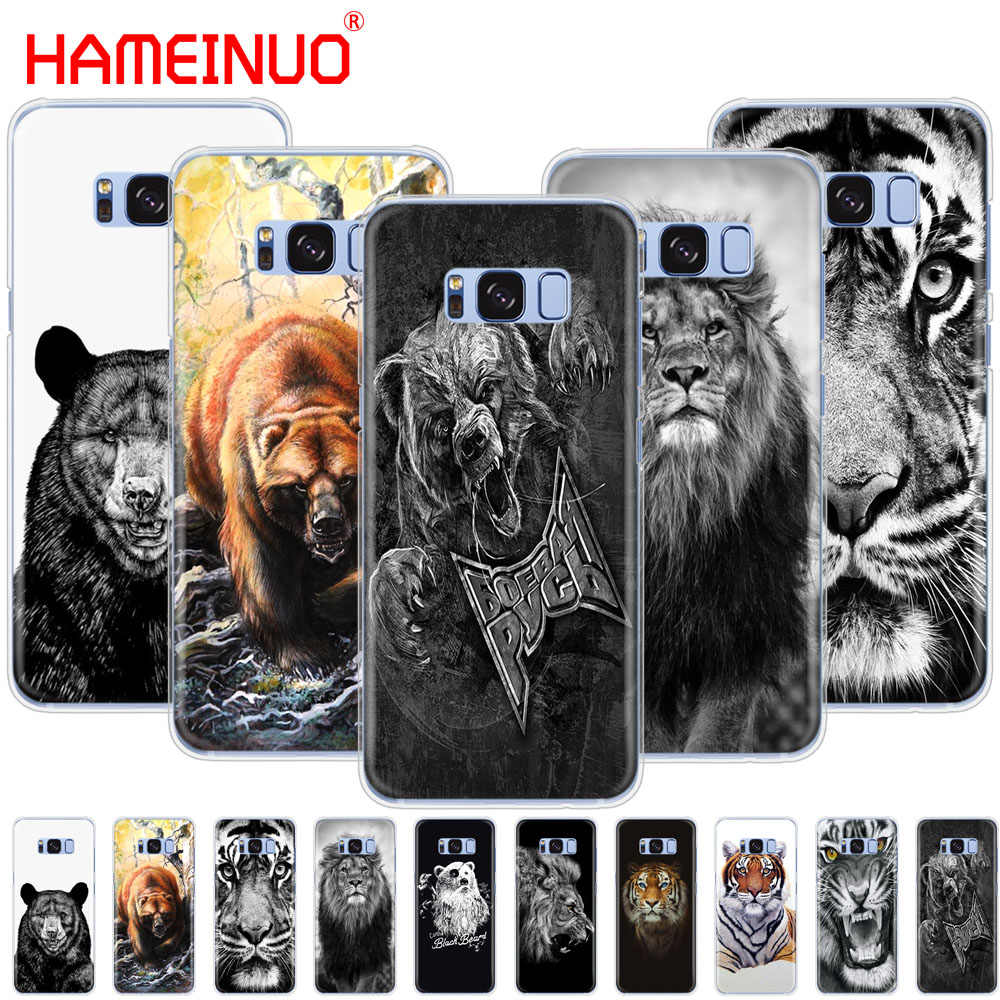 HAMEINUO ロシアクマ虎ライオン携帯電話ケース三星銀河 s9 S7 エッジプラス S8 S6 S5 S4 s3 ミニ