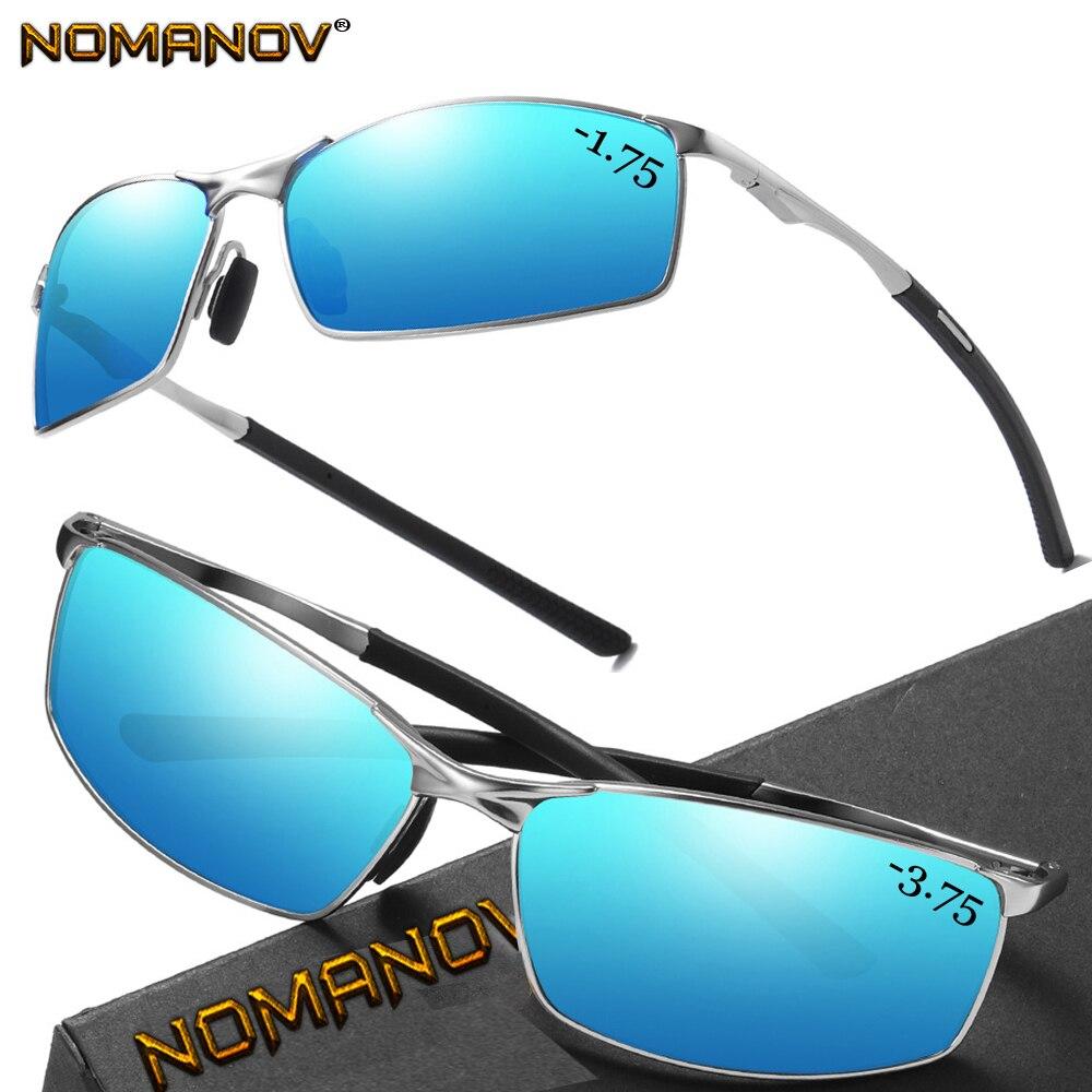 AL-MG Shield Men Women Polarized Mirror / Night Vision Lens Sunglasses Custom Made Nearsighted Minus Prescription Lens -1 To -6