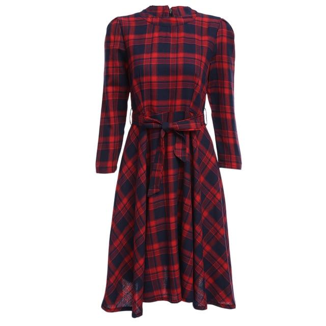 8fff6e2def0 Kenancy Autumn Red Check Plaid Print Vintage Dress Long Sleeves Belts  Zipper Women Party Vestidos Rockabilly Retro Office Dress