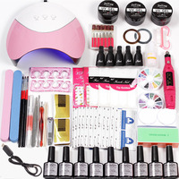Nail Set for Manicure Gel Varnish Nail Polish Extension Gel 36w Led Uv Lamp Electric Machine Manicure Accessories Set
