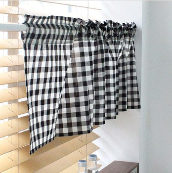 Black White Gingham Checkered Plaid Kitchen Tier Curtain