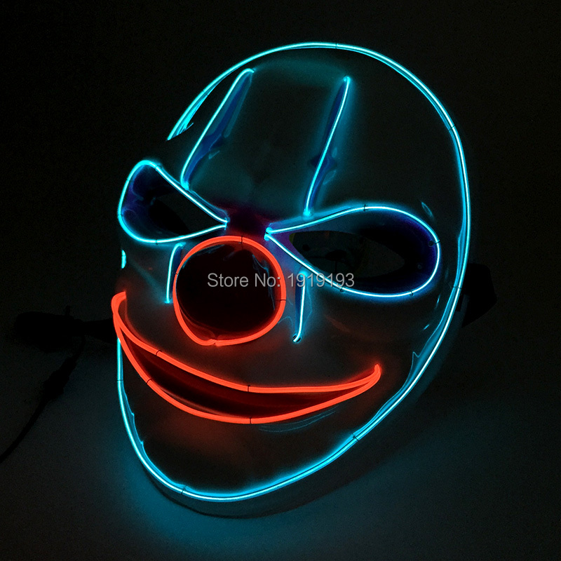 Promotion!Illuminate Led Bulbs Neon Stage Lamp Clown Cartoon Shaped Mask Voice Control Lights EL Wire Funny Mask for Wedding cartoon the hulk shaped plastic mask green