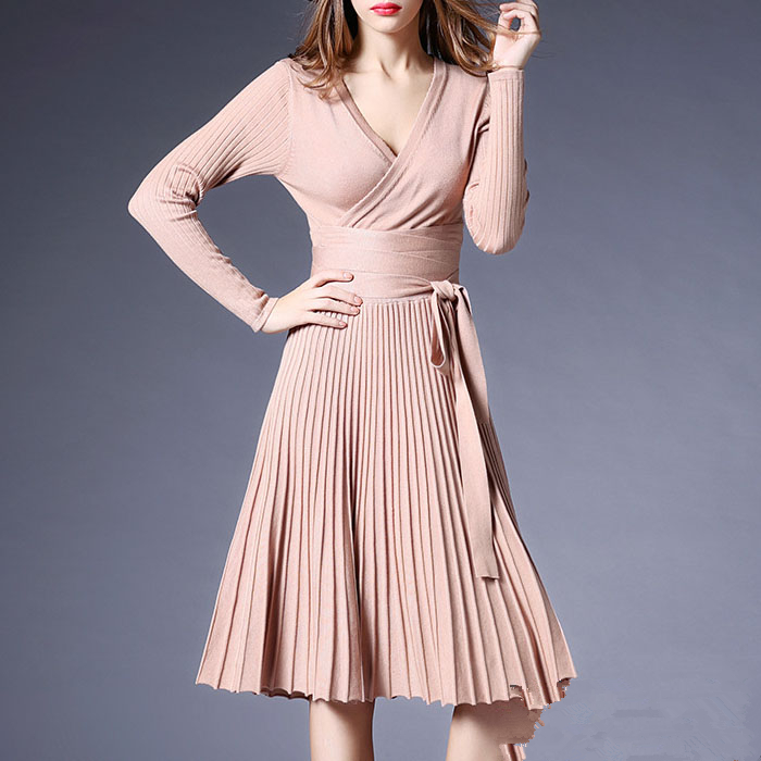 2018 High Quality Spring Long Knitted Sweater Dress Women Long Sleeve Sexy V-neck Pleated Dresses With Sashes Casual Vestidos rocksir sexy off shoulder bodycon dress women pearl v neck knitted dress spring backless sashes sweater party dresses vestidos