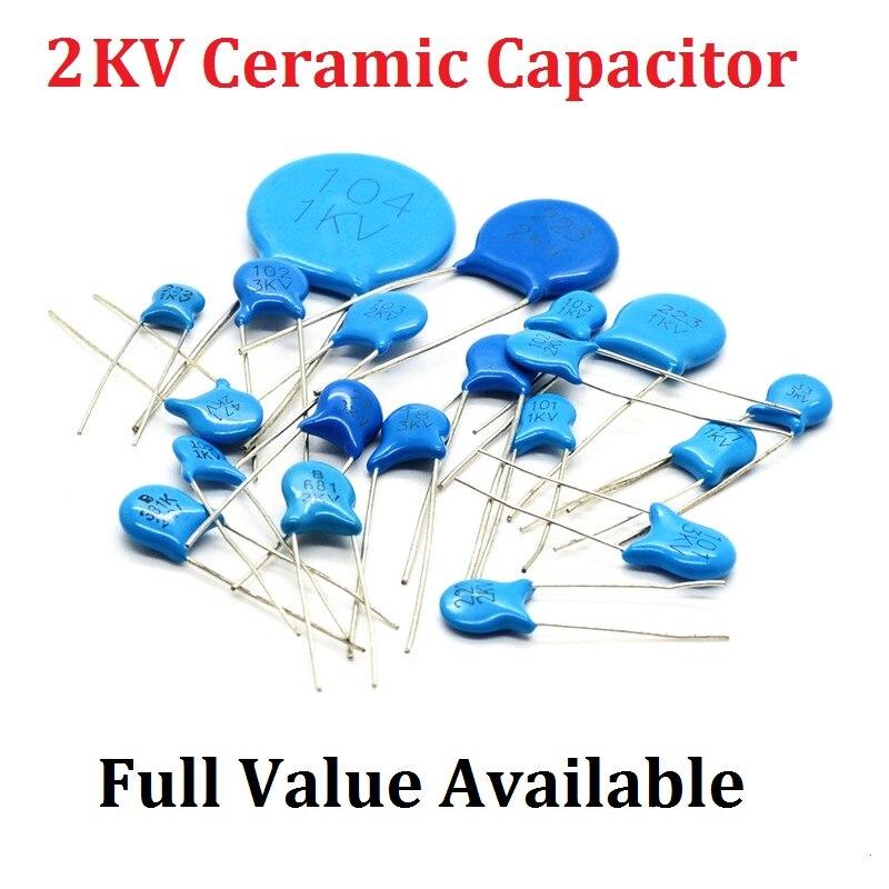 20PCS 2KV 151 Ceramic Capacitor 2KV151 15PF 150/100PF 101/120PF 121/220PF 221/330PF 331/22PF 220/ 2000V Capacitance High Voltage