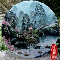 JPY 39 inch Größte Größe Chinna Berühmte Element Öl Papier Regenschirm Erwachsene Bühne Dance Papier Sonnenschirm Bambus Handwerk Papier Dach-in Schirme aus Heim und Garten bei