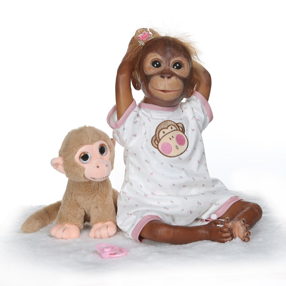 Newest 20 Inch Monkey Baby Doll Toys Macaco Cloth Body Silicone 52cm Soft Realistic Reborn Apes Dolls Children GiftNewest 20 Inch Monkey Baby Doll Toys Macaco Cloth Body Silicone 52cm Soft Realistic Reborn Apes Dolls Children Gift