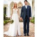 Vestido De Noiva Praia Sexy Querida Chiffon e Lace Praia Vestidos de Casamento 2016 Robe De Mariage vestido de Fenda Hochzeitskleider