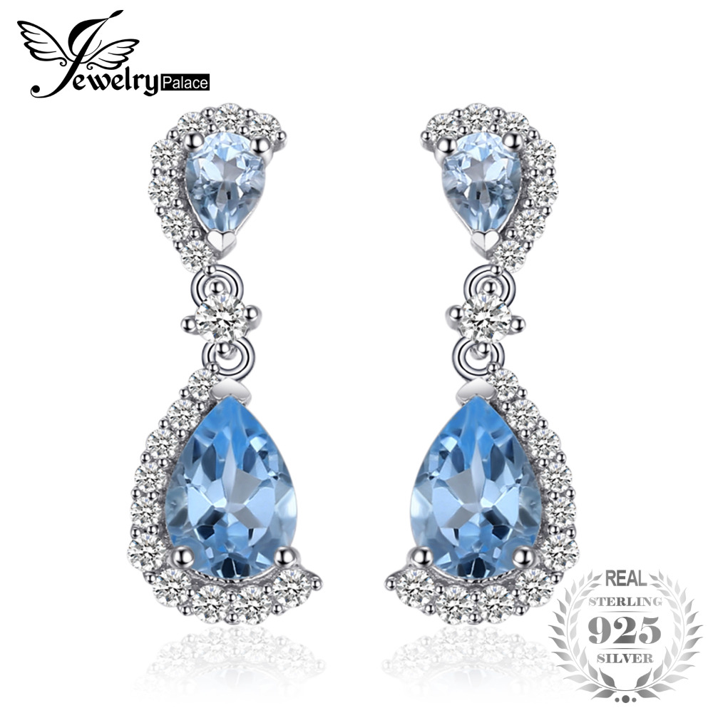 JewelryPalace Luxury 6.24ct Natural Sky Blue Topaz Water Drop Earrings 100% 925 Sterling Silver Jewelry Party Earrings For Women alex чайный сервиз весна 16 предметов