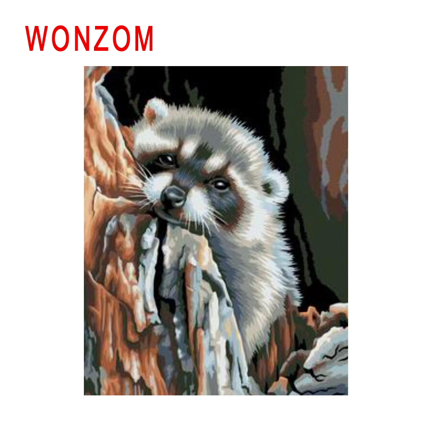 WONZOM Raccoon Painting By Numbers Abstract Animal Oil Cuadros Decoracion Acrylic Paint On Canvas Modern Art Gift