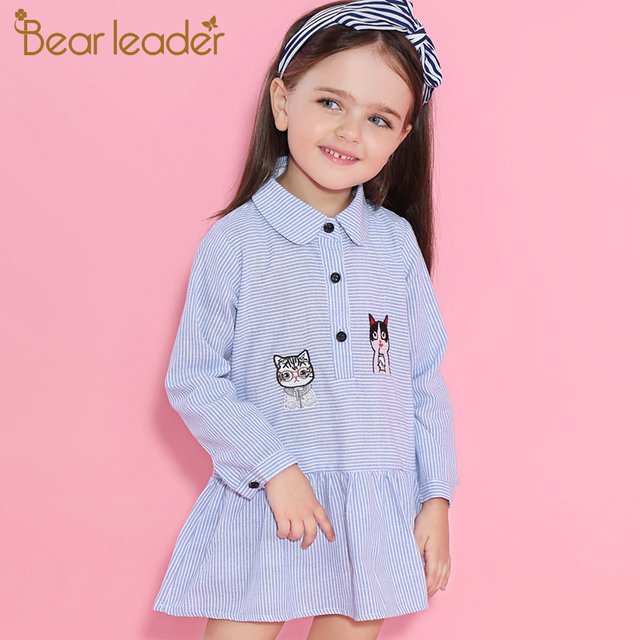 Bear Leader Girls Dress 2019 Fashion Shirts Dresses Long Sleeve Blue Striped Embroidery Trun-down Collar Design for Kids Dresses