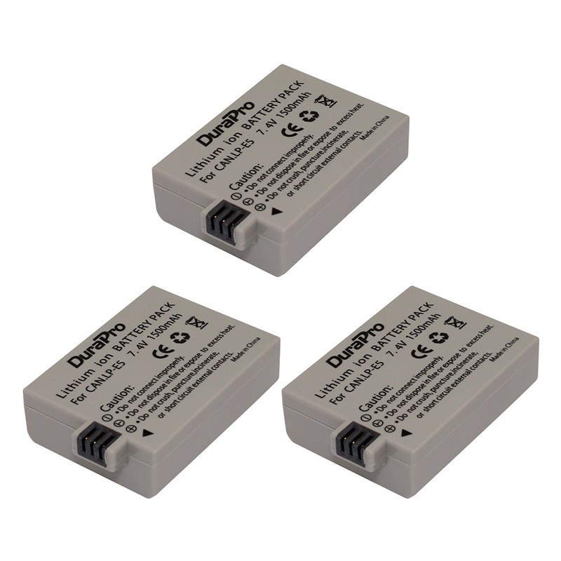 3 Pcs DuraPro Hot Sales 7.4V 1500mAh LP-E5 LP E5 LPE5 Rechargeable Digital Camera Li-ion Battery for Canon 450D 500D 1000D цена