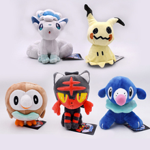 5Styles 2017 Free Shipping Alola Vulpix Mimikyu Litten Rowlet Popplio 18-20cm Plush Doll Stuffed Toy
