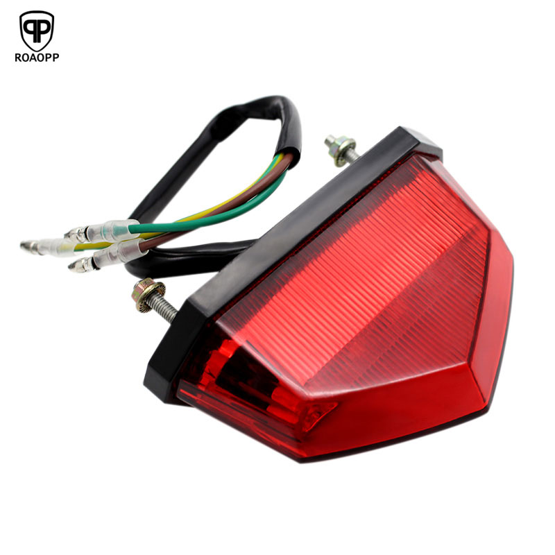 ROAOPP 3 Color Motorcycle Tail Rear Light LED Rear Lamp Taillight Motorbike Brake Stop Lights Moto Turn Signals for Honda Yamaha