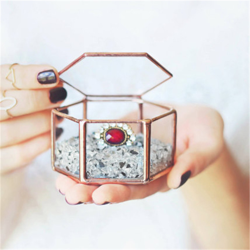 Mini Hexagon Geometric Wedding Ring Box Ring Bearer Box Tabletop Succulent Plants Planter Wedding Decoration2