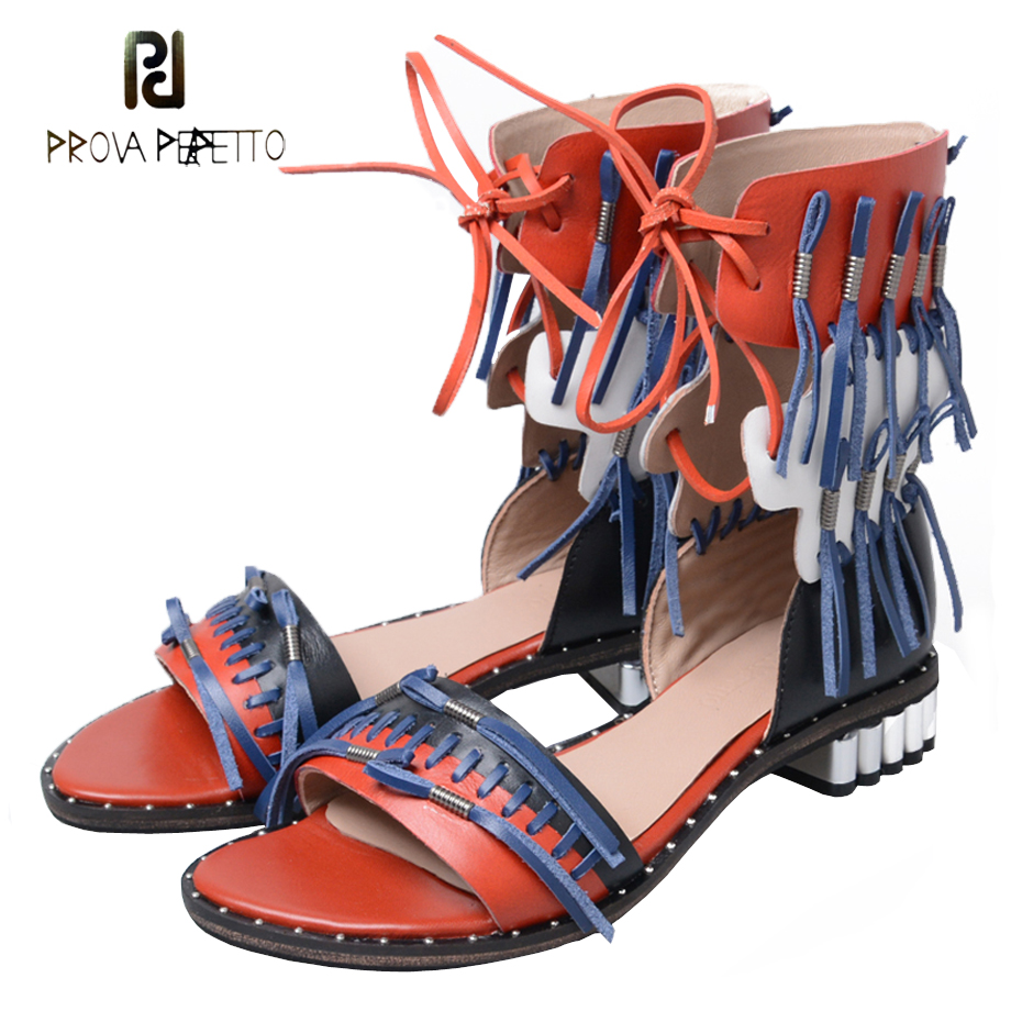 Prova Perfetto new design genuine leather patchwork tassel women casual sandals summer boots lace up fringe low heel sandals trendy women s sandals with solid colour and fringe design