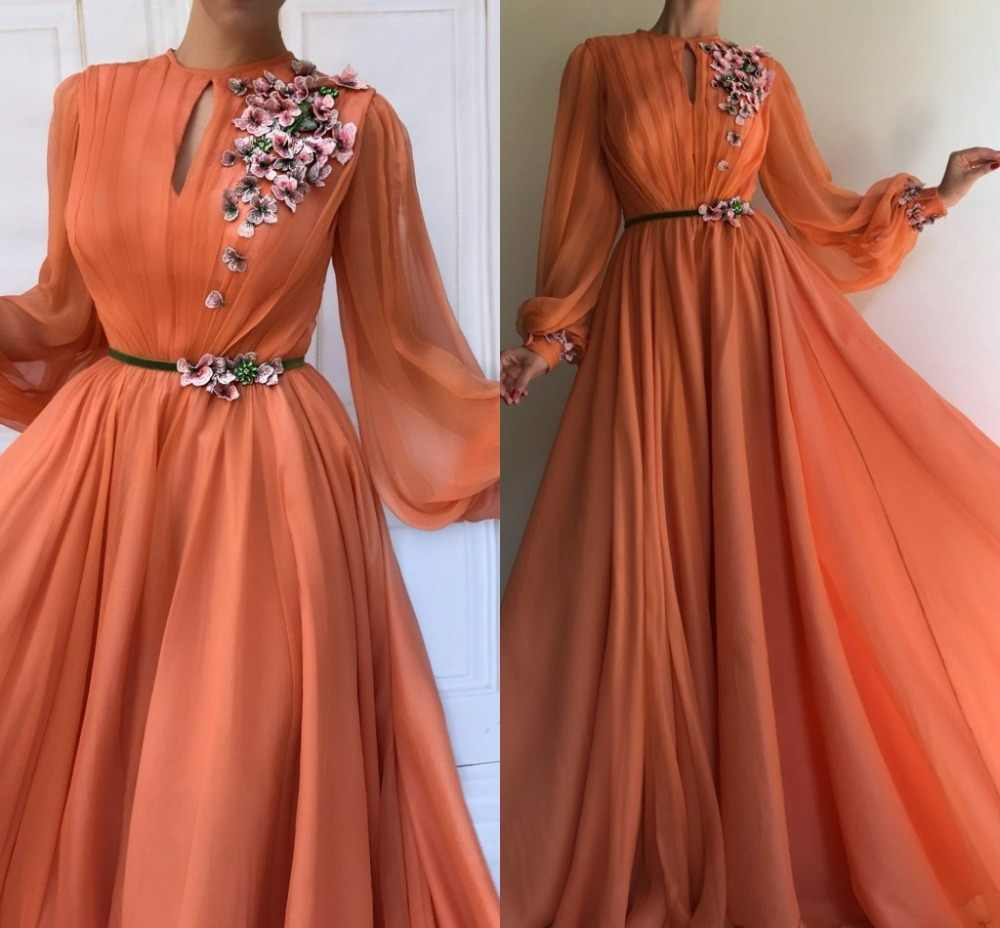 2a5fc0d4ce Coral Arabic Moroccan Evening Dresses Party Elegant for Women Celebrity  Long Sleeves Chiffon Dubai Caftans Formal Gowns 2019