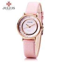 Julius ja-927 grano de cuarzo del dial del reloj de las mujeres que fluye elegante relojes de pulsera de moda