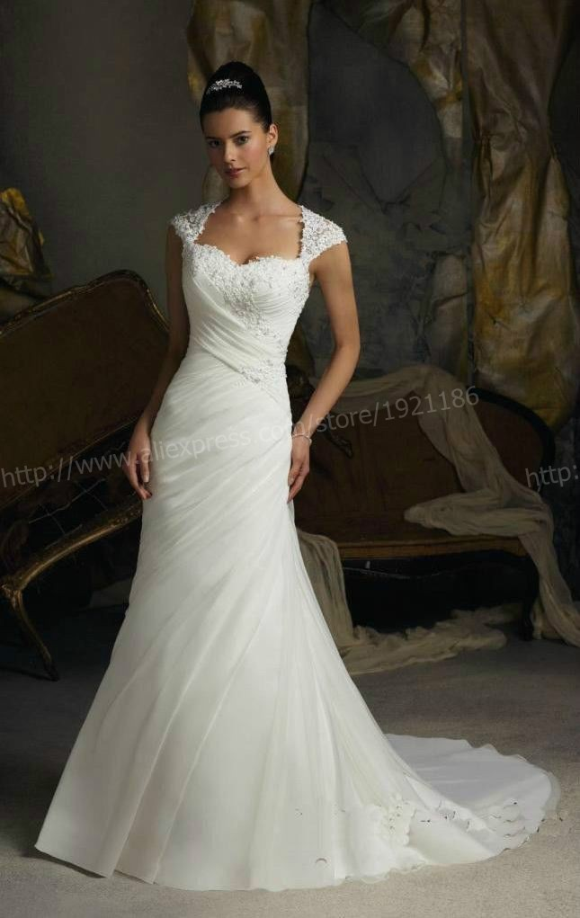 Women Graceful Lace Embroidery Beading Cap Sleeve Court Train Long Mermaid  Wedding Dress Back Gauze Ruched Sweetheart Dresses-in Wedding Dresses from  ... 36ba670d7dfd