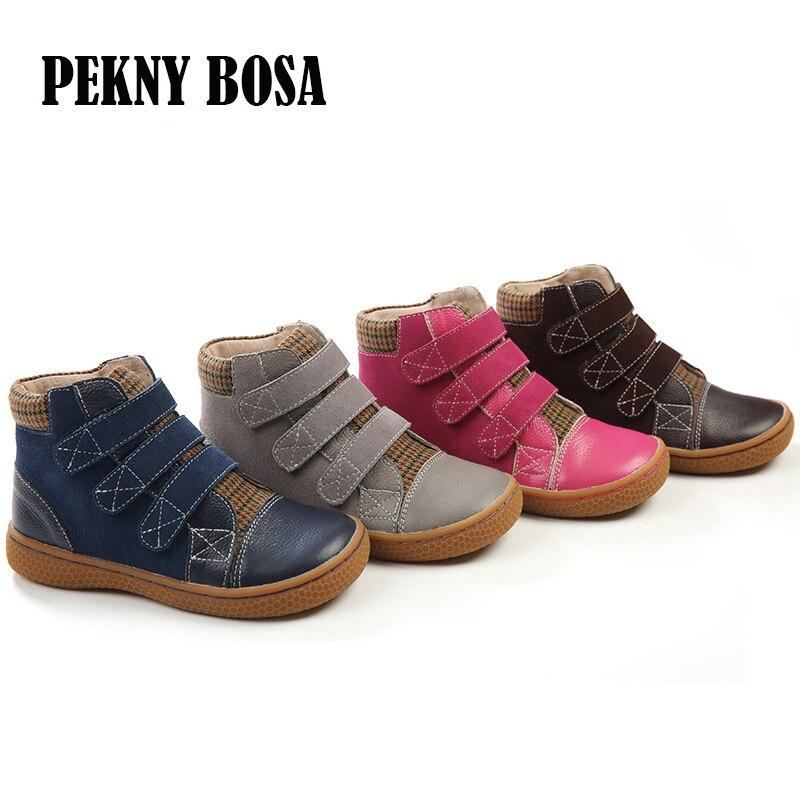 Botas De Couro genuíno crianças botas de couro sapatos de meninas primavera outono botas de couro sapatos meninos tornozelo sapatos de couro botas size25-30