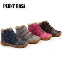 Bottes en cuir véritable chaussures enfants bottes en cuir printemps automne filles bottes en cuir chaussures garçons en cuir bottines chaussures size25-30