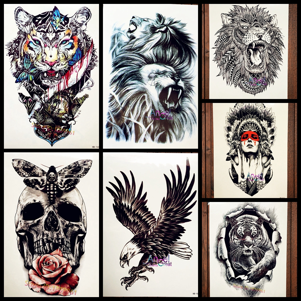 Buy cool large lion head tattoo for Temporary tattoo sticker