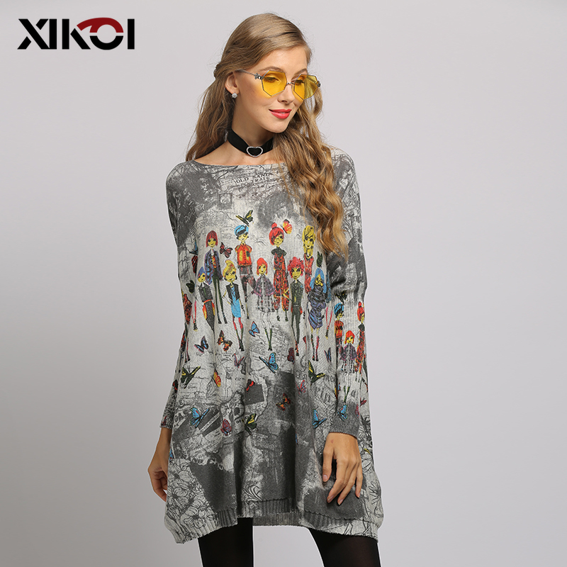 XIKOI Long Oversize Sweater Women Spring Pullover Casual Batwing Sleeve Cartoon Print Fashion Autumn Woman Sweaters Pullovers