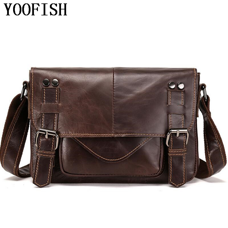 YOOFISH Men Bags Oil Wax Leather Messenger Bag Vintage Genuine Cowhide Leather Shoulder Bag Genuine Leather Bag LJ-827 genuine leather