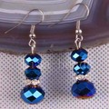 Free Shipping New without tags Fashion Jewelry New Zinc Alloy Dark blue Crystal Faceted Beads Earrings 1Pair RU208