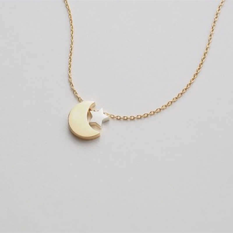 Two Tone Moon And Star Necklace Women Gold Silver Crescent Celestial Jewelry Stainless Steel Chain Best Friend Gifts