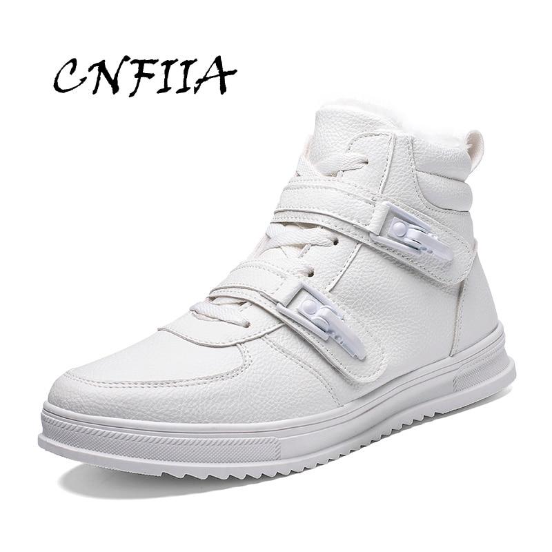 Boots Mode Chelsea De Casual En Cnfiia Taille D'hiver Cuir Boots Blanc Fourrure 39 Noir 2018 Sneaker Hommes Black Chaussures Bottes white Mâle KucTFJl31