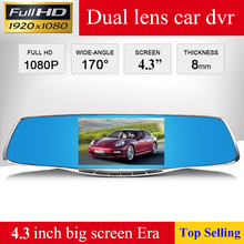4.3″ best Car Blue Rearview Mirror Camera Full HD 1080P Dvr Digital Video Recorder dual Cameras Auto Dash Camara free shipping