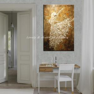 Image 3 - Mintura Balletdanser Foto Handgeschilderde Abstract Paletmes Schilderijen Op Canvas Wall Art Voor Woonkamer Home Decor