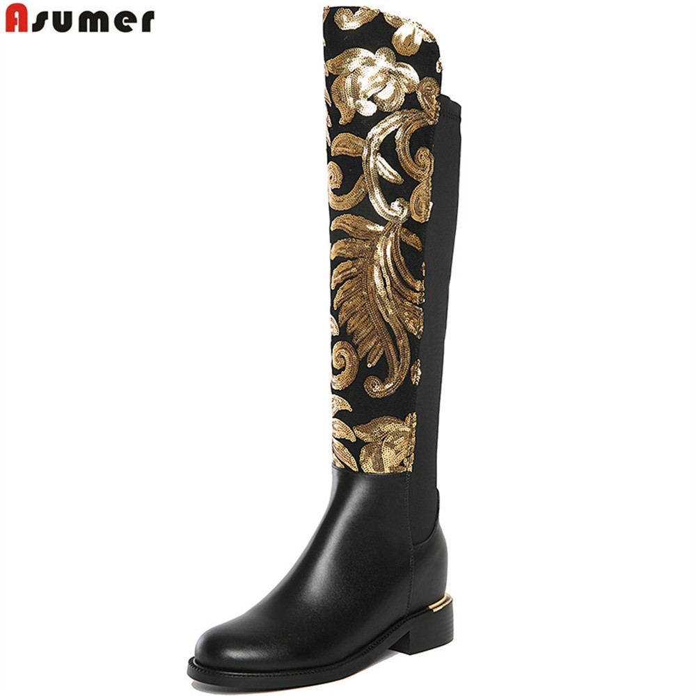 ASUMER black winter genuine leather boots women knee high boots height increasing stretch cloth sexy fashion shoes woman ppnu woman winter nubuck genuine leather over the knee snow boots women fashion womens suede thigh high boots ladies shoes flats